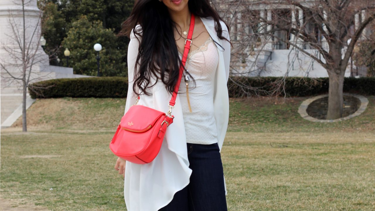 DC: Dark Denims, White Cardigan & a Pop of Coral