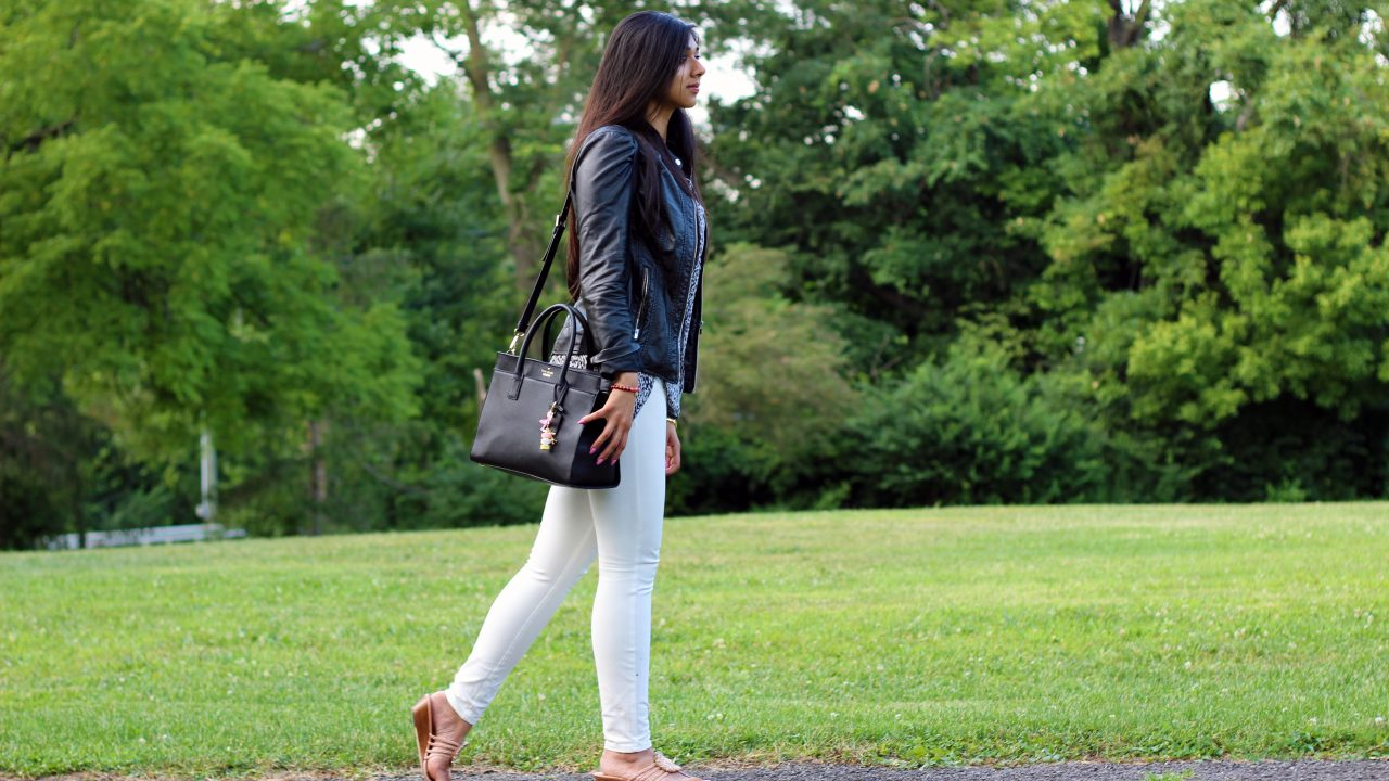Casual: White Pants and Leather Jacket