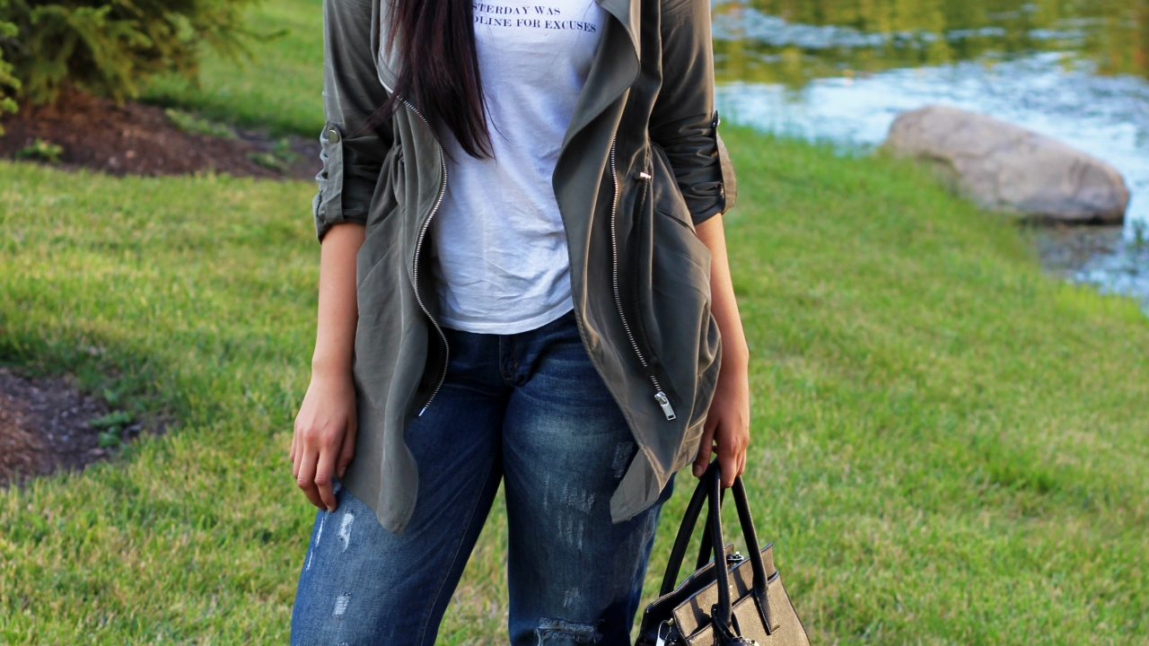 Casual Tee & Parka Jacket