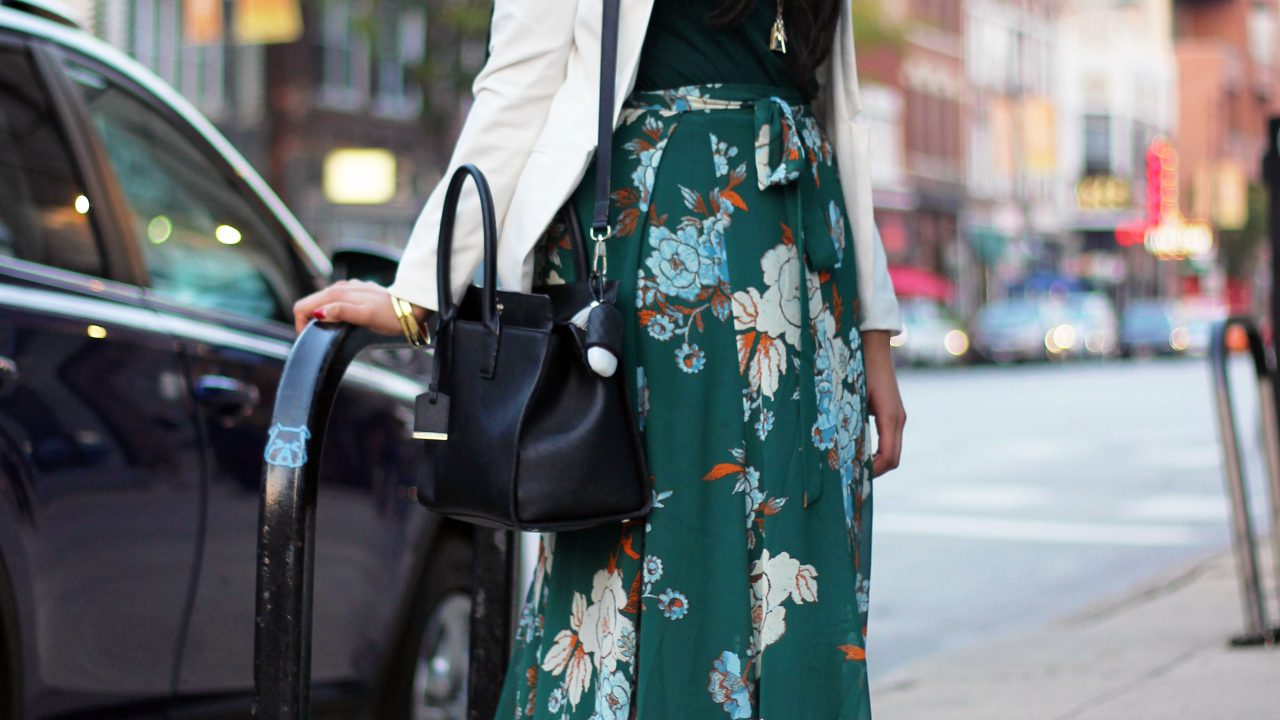 Green Open-Leg Floral Skirt + White Blazer