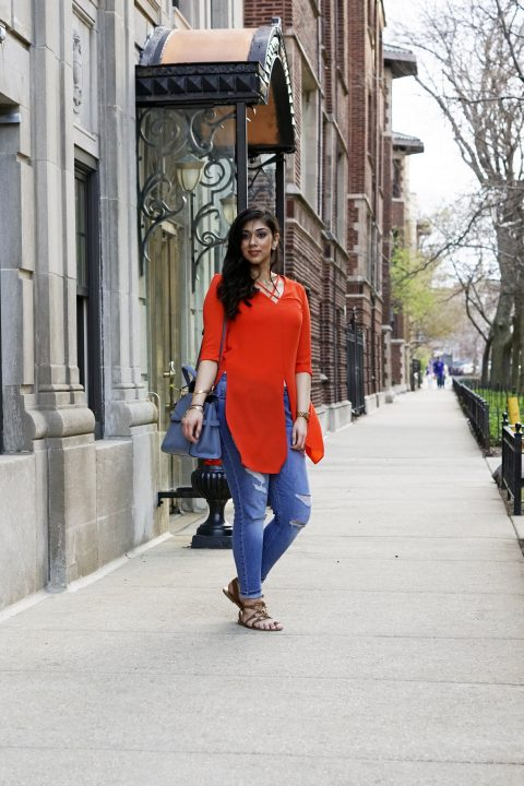 Orange Top and Casual Ripped Denim | Henri Bendal Bag | Jord Watches | Chicago, IL