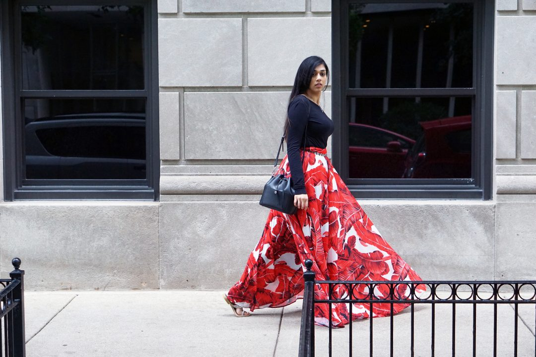 Akira Red Printed Skirt and Black Top | Michael Kors Bucket Bag | Chicago, IL