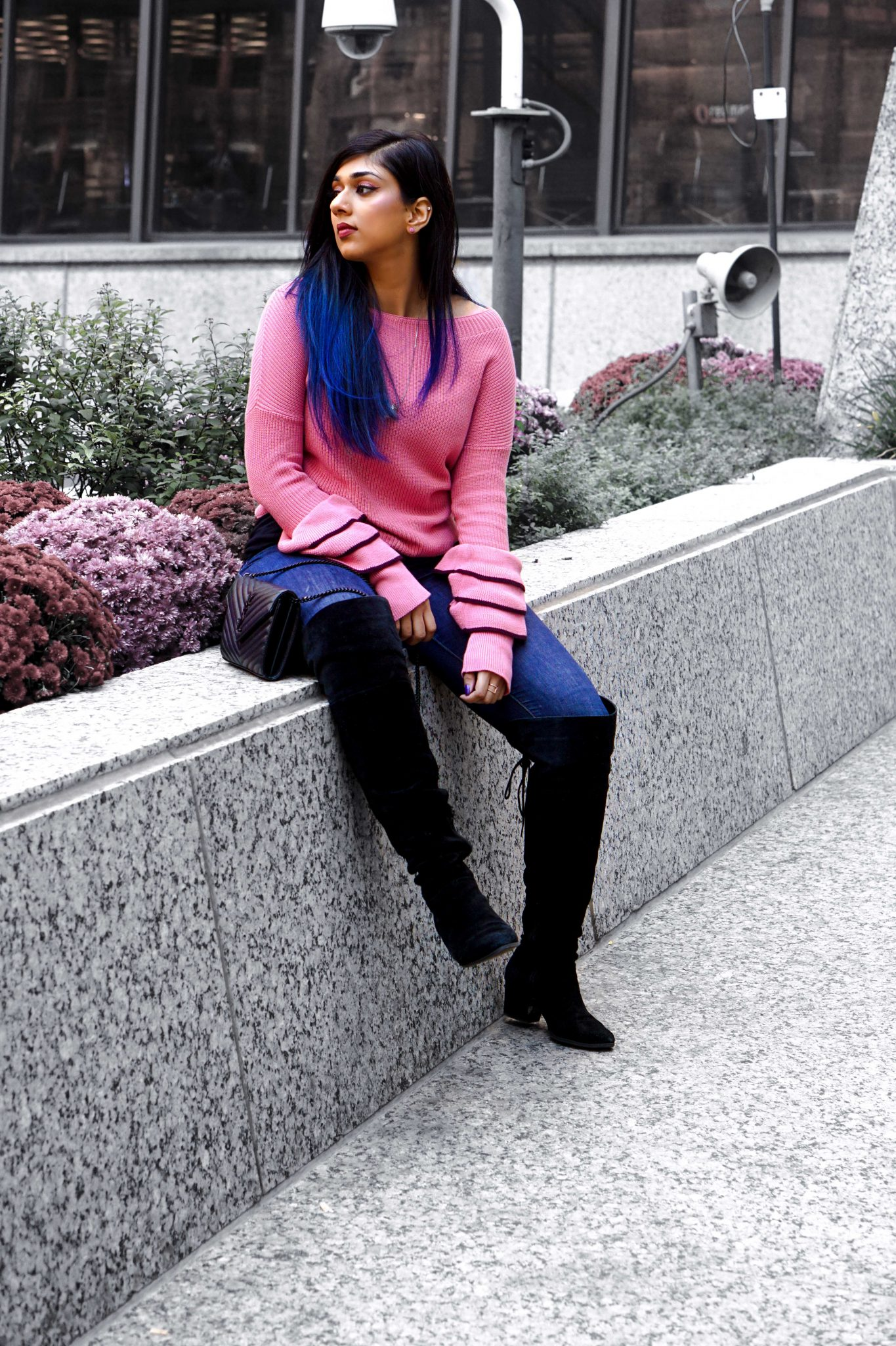 Express Pink Ruffle Sweater with Black Trim | Fall in Chicago, IL