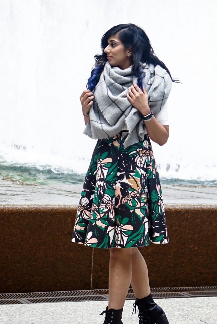 Blue Hair | Blanket Scarf from Zara styled with H&M Skirt | Fall in Chicago